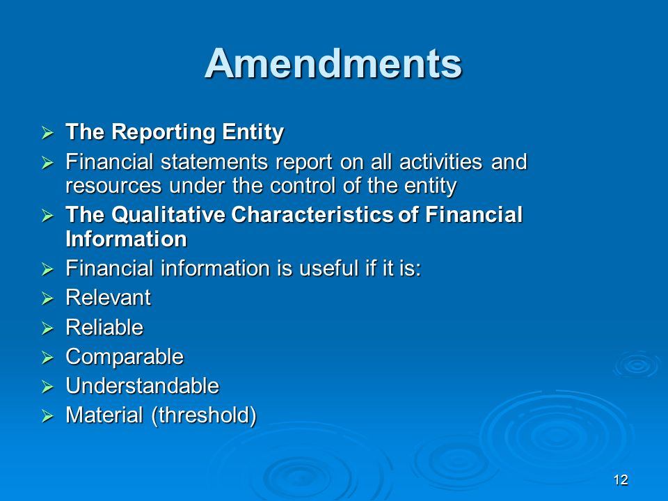 12 Amendments The Reporting Entity The Reporting Entity Financial statements report on all activities and resources under the control of the entity Fi