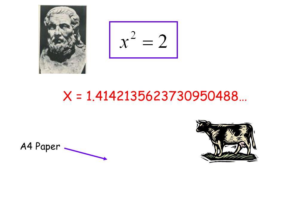 X = 1.4142135623730950488… A4 Paper