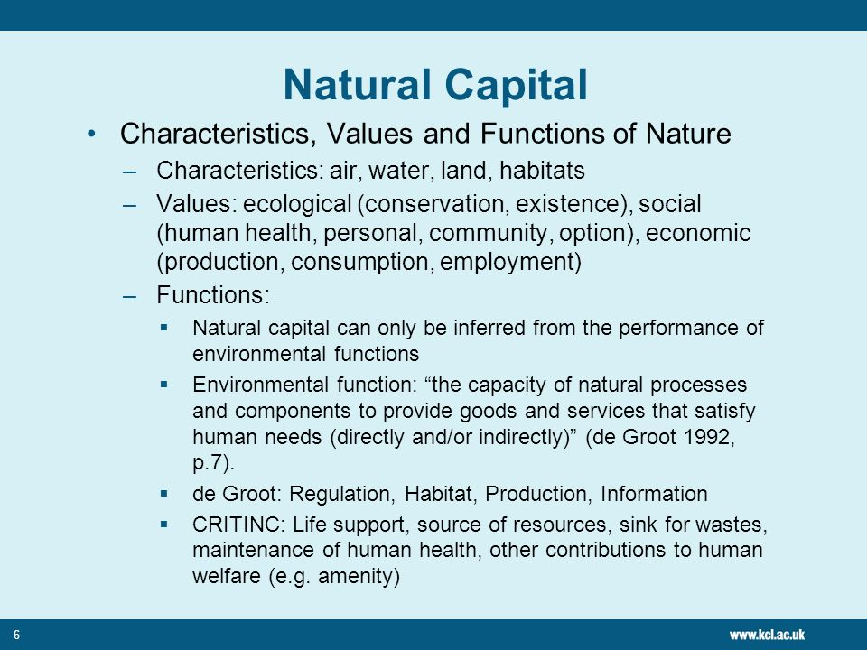6 Natural Capital Characteristics, Values and Functions of Nature –Characteristics: air, water, land, habitats –Values: ecological (conservation, existence), social (human health, personal, community, option), economic (production, consumption, employment) –Functions: Natural capital can only be inferred from the performance of environmental functions Environmental function: the capacity of natural processes and components to provide goods and services that satisfy human needs (directly and/or indirectly) (de Groot 1992, p.7).