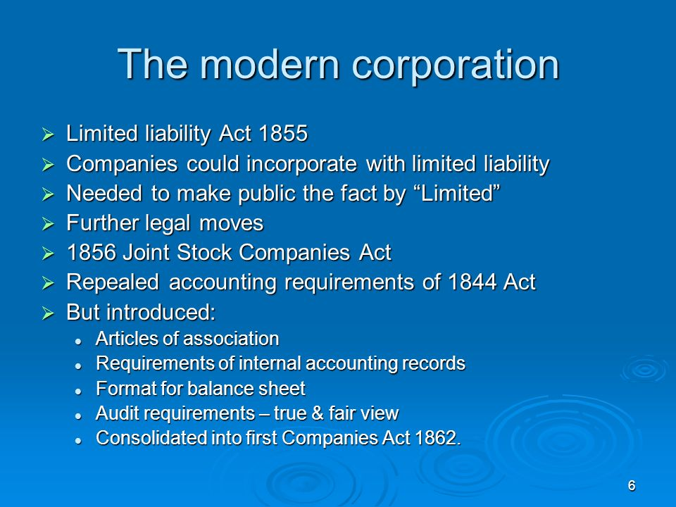 6 The modern corporation Limited liability Act 1855 Limited liability Act 1855 Companies could incorporate with limited liability Companies could inco