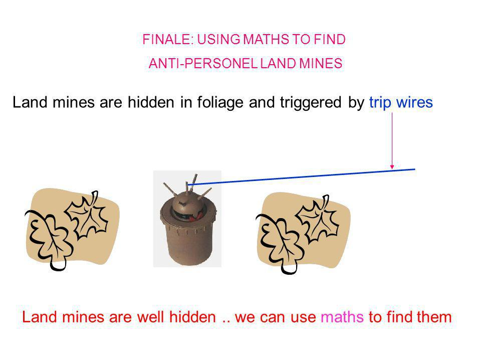 FINALE: USING MATHS TO FIND ANTI-PERSONEL LAND MINES Land mines are hidden in foliage and triggered by trip wires Land mines are well hidden.. we can