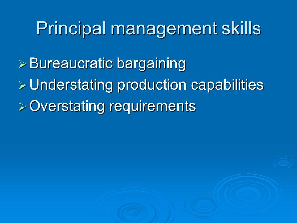 Principal management skills Bureaucratic bargaining Bureaucratic bargaining Understating production capabilities Understating production capabilities Overstating requirements Overstating requirements