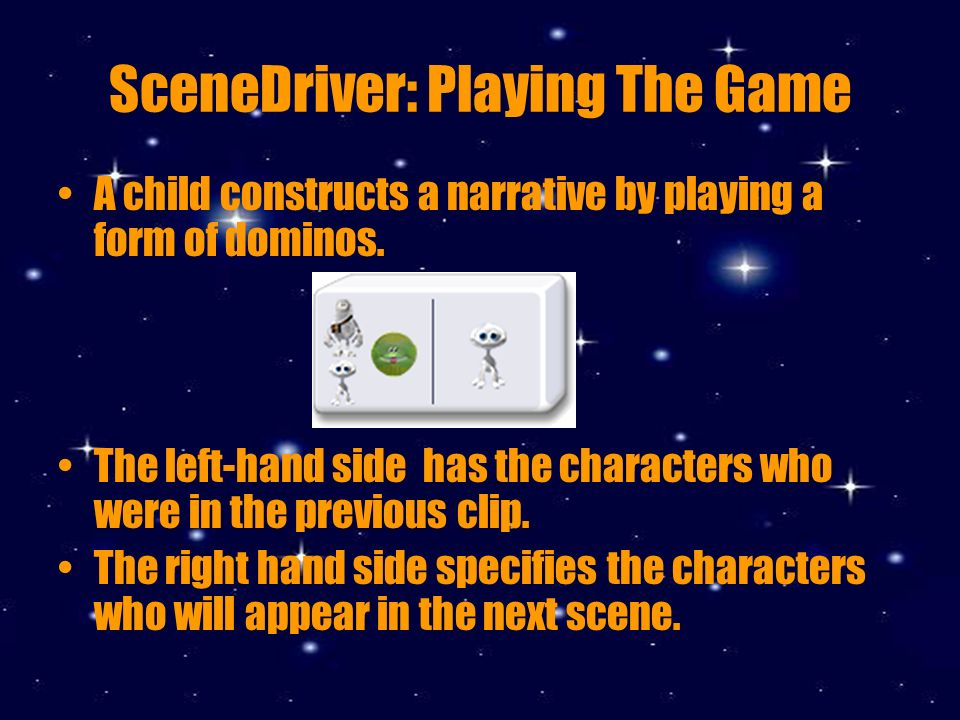 SceneDriver: Playing The Game A child constructs a narrative by playing a form of dominos.