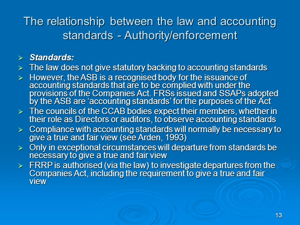 13 The relationship between the law and accounting standards - Authority/enforcement Standards: Standards: The law does not give statutory backing to