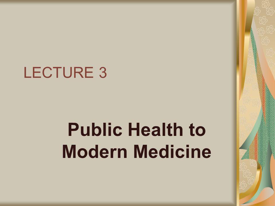 LECTURE 3 Public Health to Modern Medicine