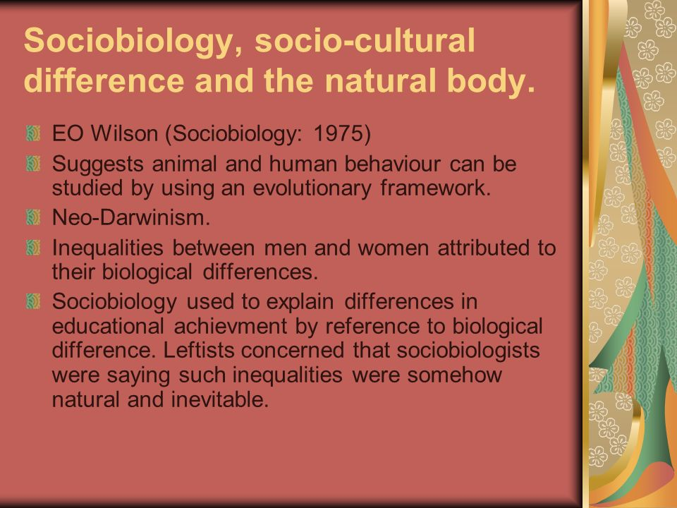 Sociobiology, socio-cultural difference and the natural body. EO Wilson (Sociobiology: 1975) Suggests animal and human behaviour can be studied by usi