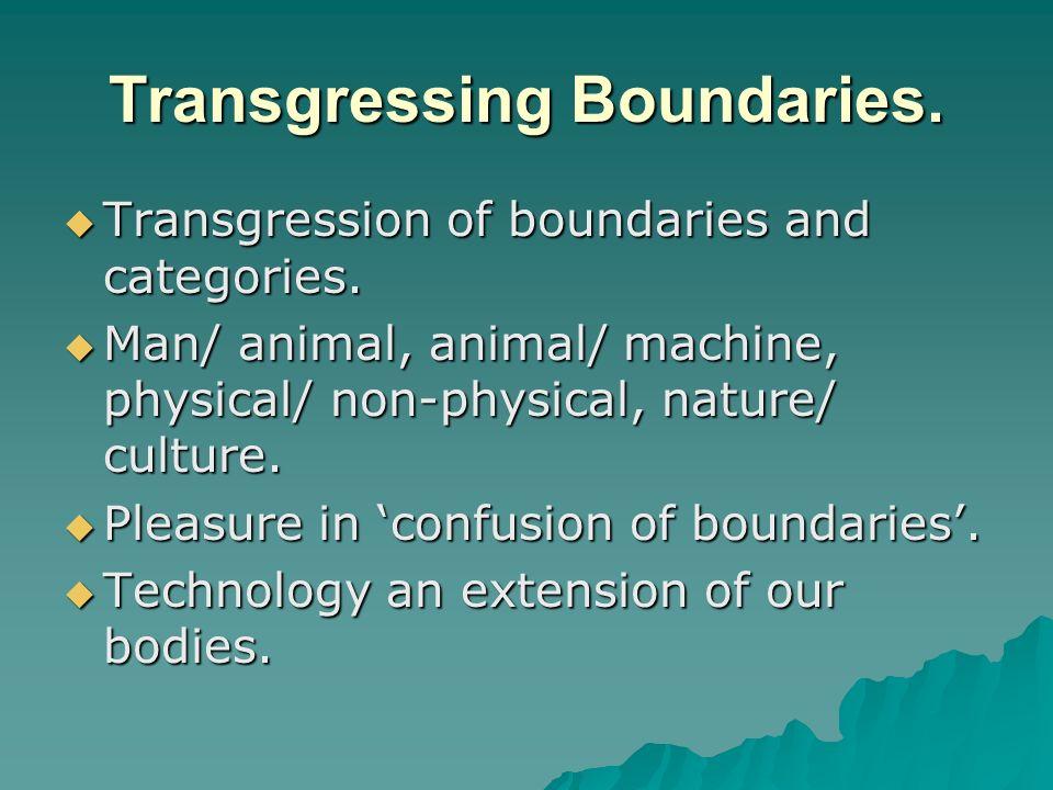 Transgressing Boundaries. Transgression of boundaries and categories. Transgression of boundaries and categories. Man/ animal, animal/ machine, physic