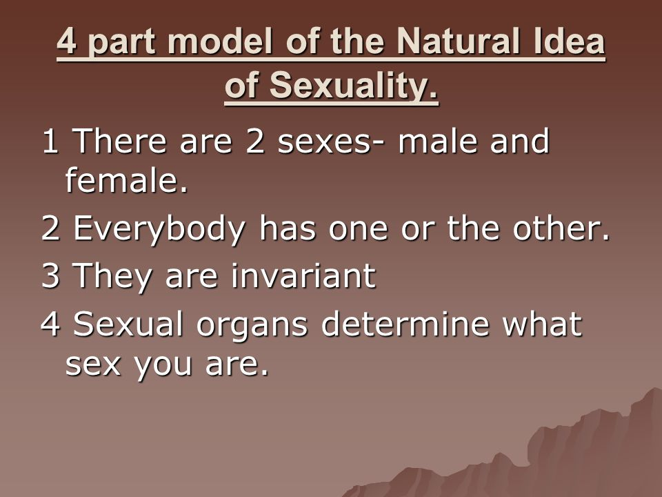 4 part model of the Natural Idea of Sexuality. 1 There are 2 sexes- male and female. 2 Everybody has one or the other. 3 They are invariant 4 Sexual o