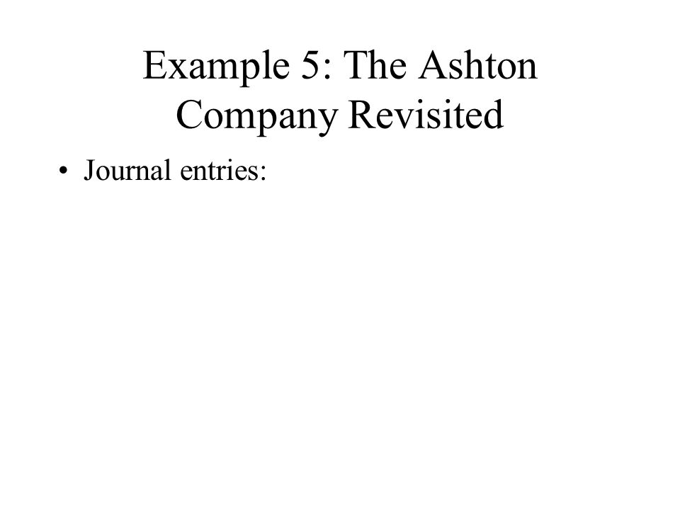 Example 5: The Ashton Company Revisited Journal entries: