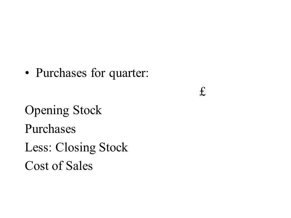 Purchases for quarter: £ Opening Stock Purchases Less: Closing Stock Cost of Sales