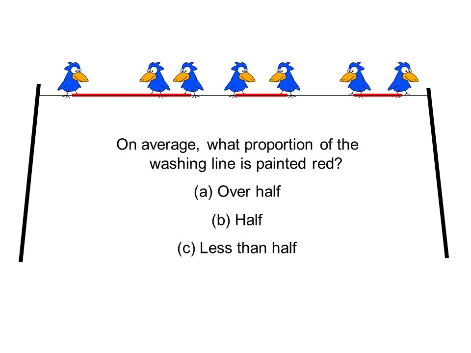 On average, what proportion of the washing line is painted red.