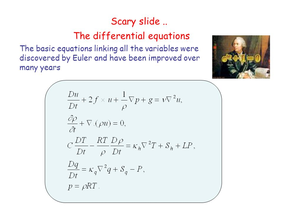 Scary slide.. The basic equations linking all the variables were discovered by Euler and have been improved over many years The differential equations