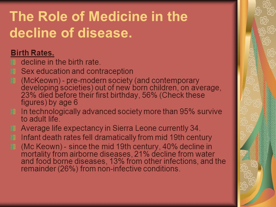 The Role of Medicine in the decline of disease. Birth Rates. decline in the birth rate. Sex education and contraception (McKeown) - pre-modern society