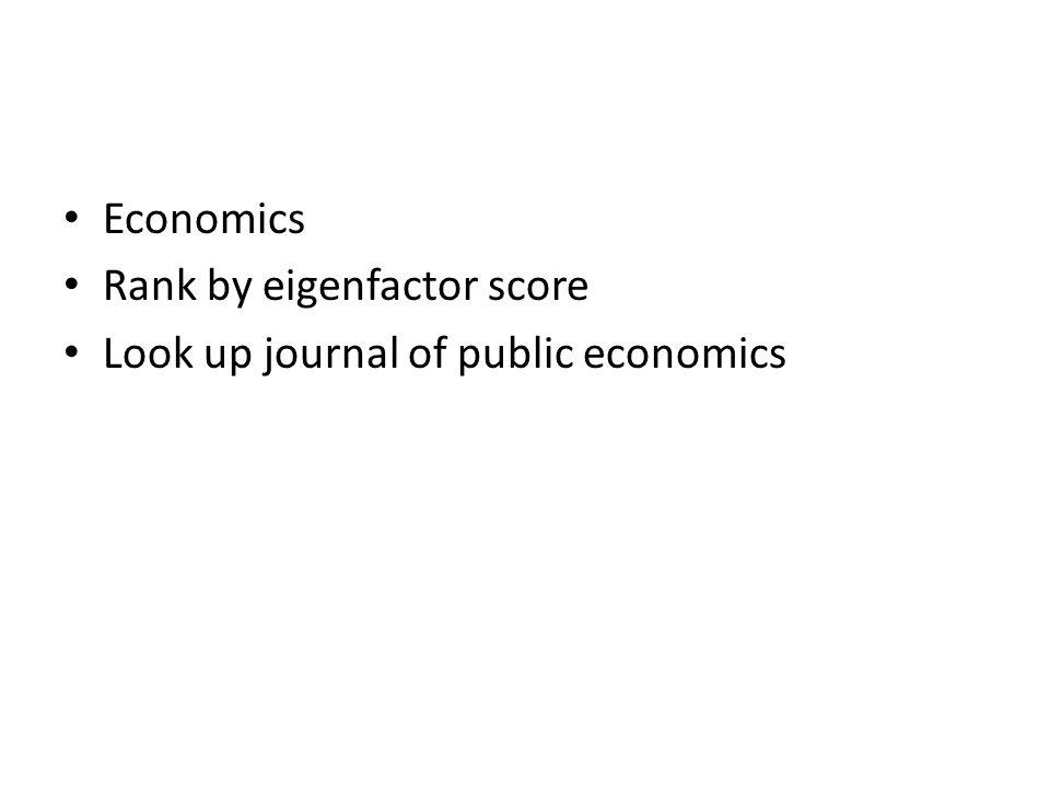 Economics Rank by eigenfactor score Look up journal of public economics