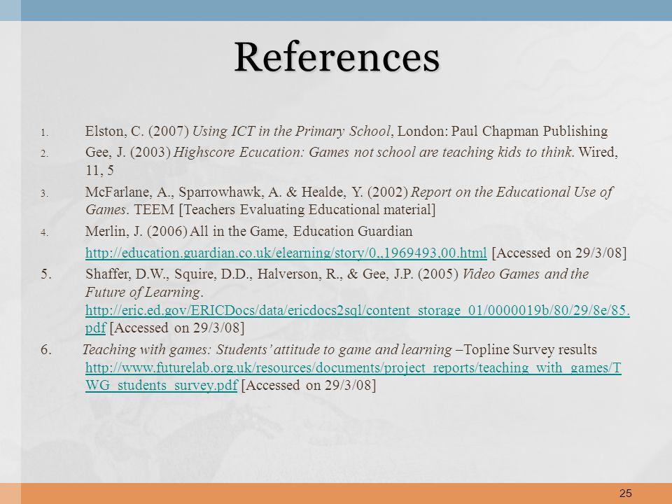 1. Elston, C. (2007) Using ICT in the Primary School, London: Paul Chapman Publishing 2.