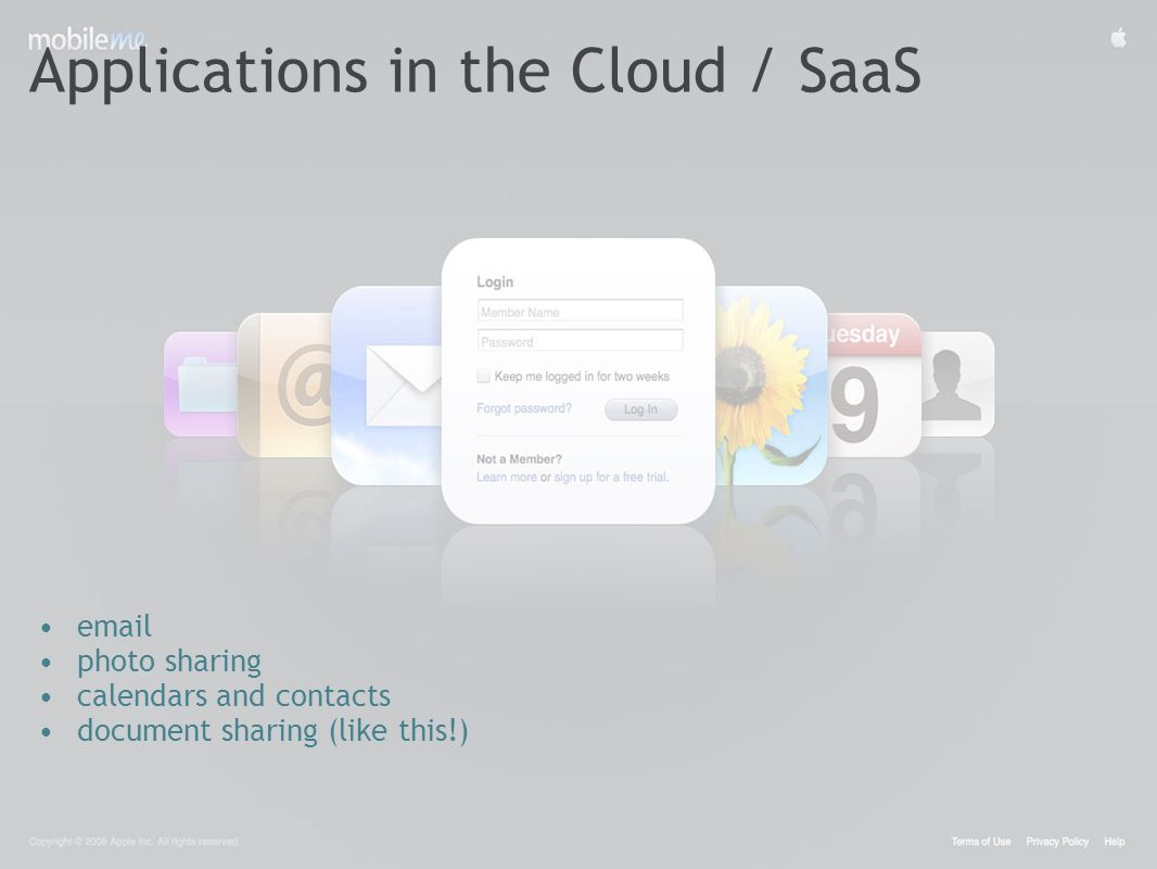 Applications in the Cloud / SaaS email photo sharing calendars and contacts document sharing (like this!)