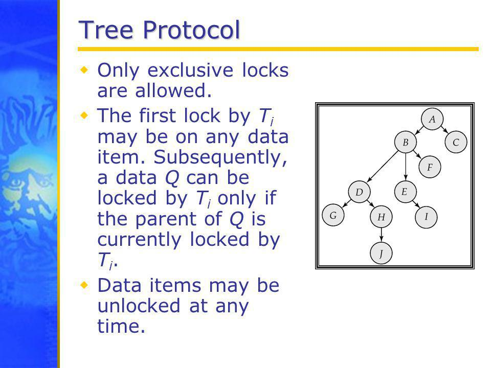 Tree Protocol Only exclusive locks are allowed. The first lock by T i may be on any data item. Subsequently, a data Q can be locked by T i only if the
