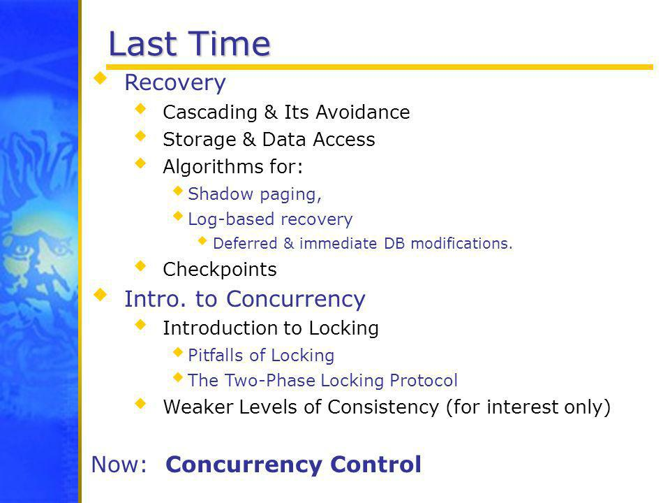 Last Time Recovery Cascading & Its Avoidance Storage & Data Access Algorithms for: Shadow paging, Log-based recovery Deferred & immediate DB modificat