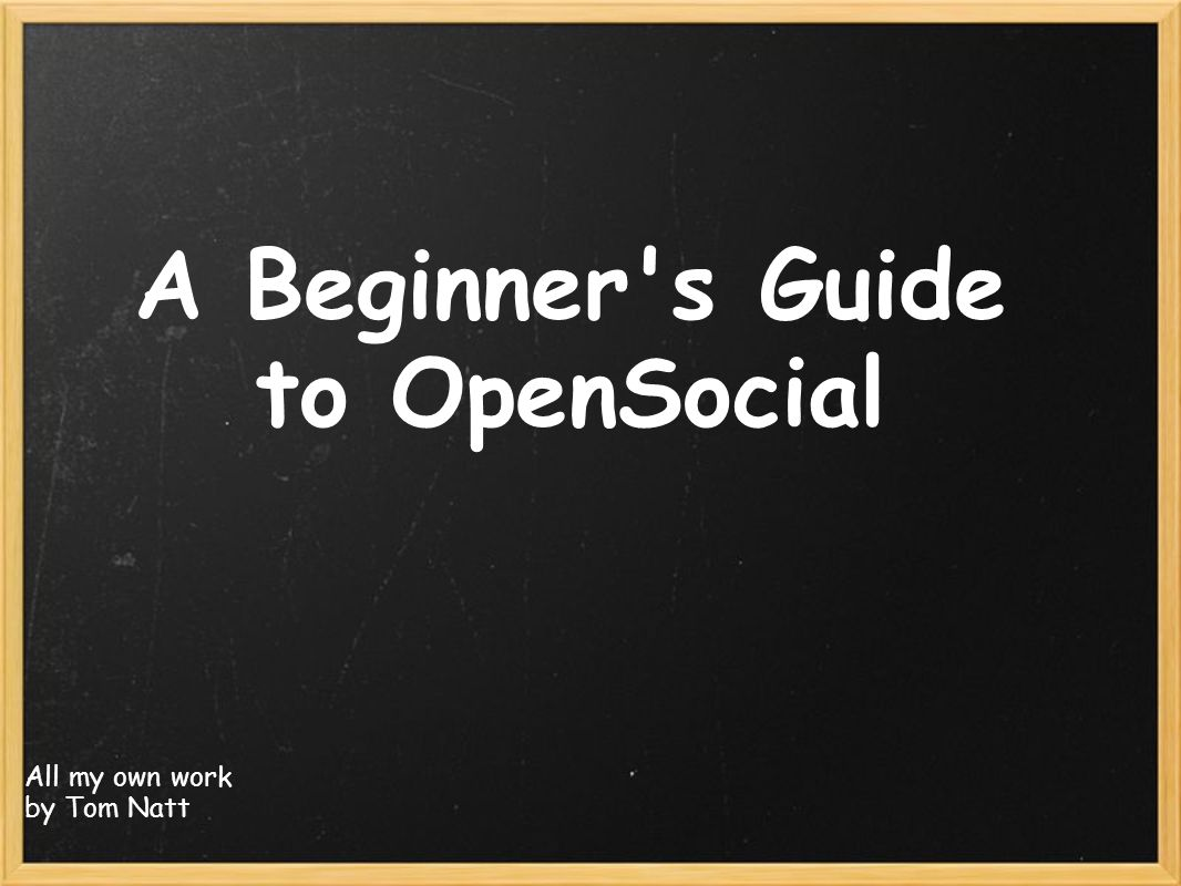 A Beginner s Guide to OpenSocial All my own work by Tom Natt