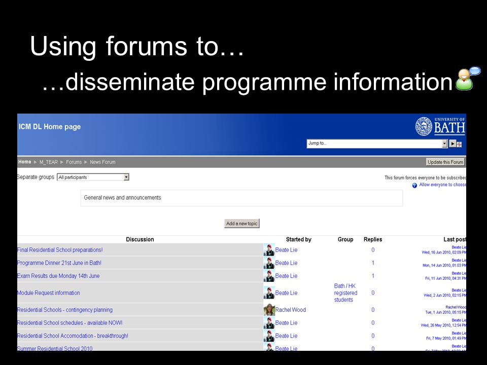 Using forums to… …disseminate programme information