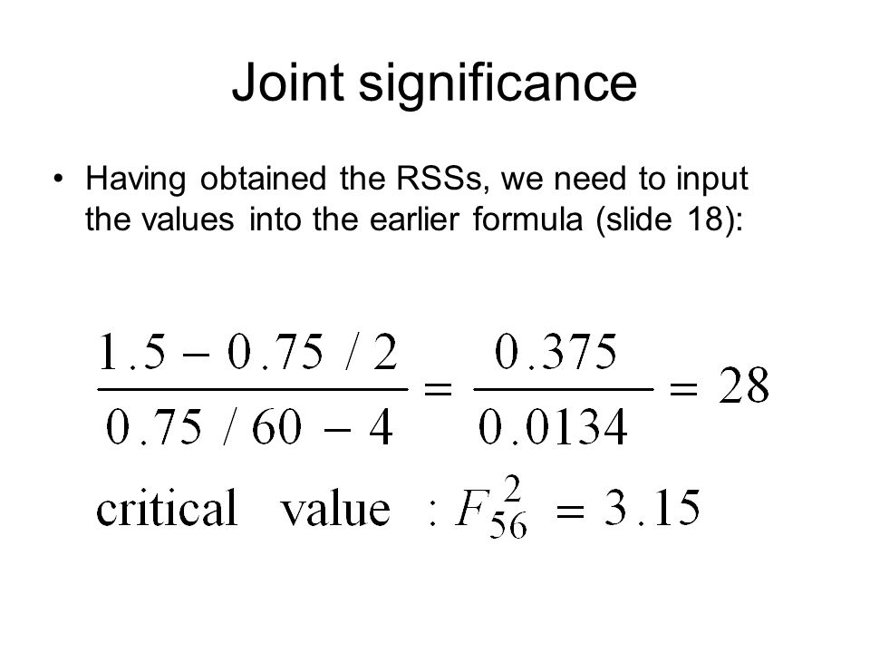Having obtained the RSSs, we need to input the values into the earlier formula (slide 18):