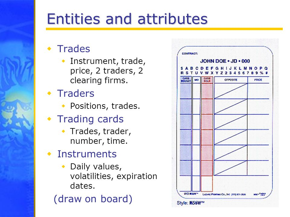 Entities and attributes Trades Instrument, trade, price, 2 traders, 2 clearing firms. Traders Positions, trades. Trading cards Trades, trader, number,