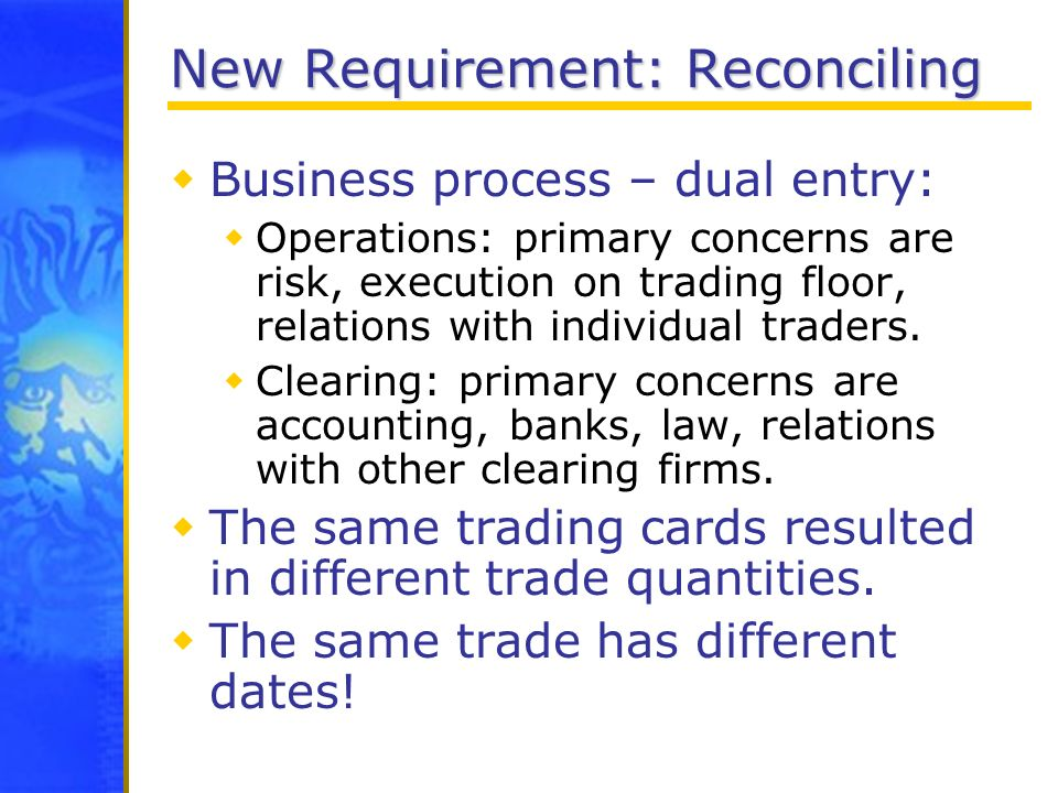 New Requirement: Reconciling Business process – dual entry: Operations: primary concerns are risk, execution on trading floor, relations with individu
