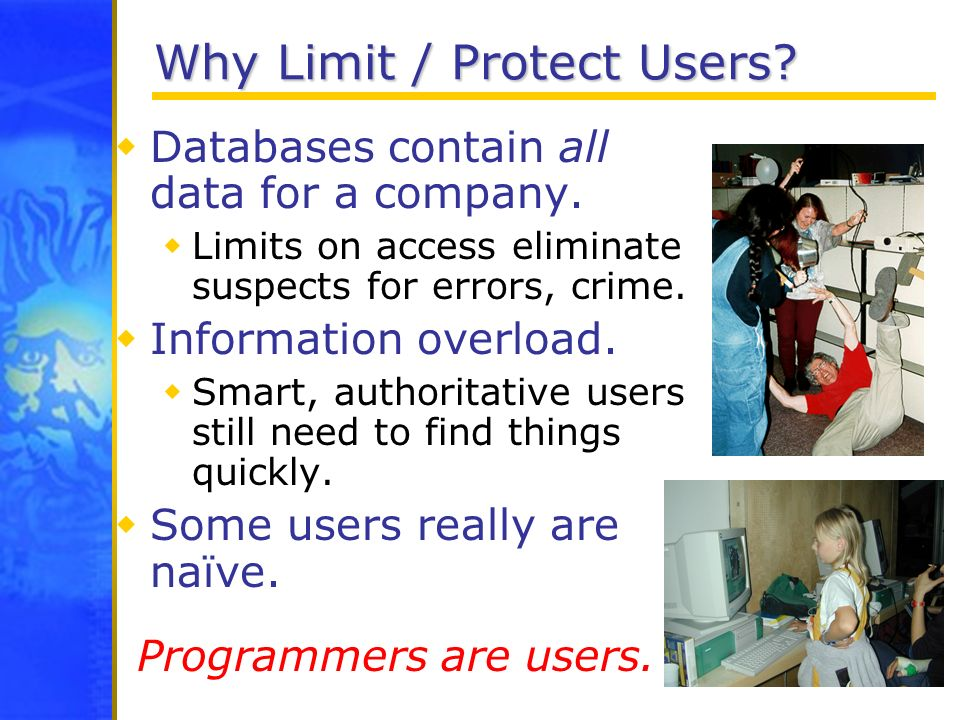 Why Limit / Protect Users? Databases contain all data for a company. Limits on access eliminate suspects for errors, crime. Information overload. Smar