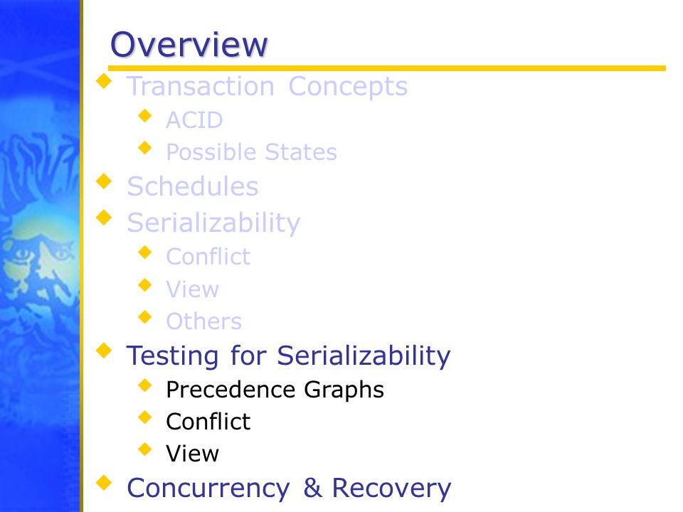 Overview Transaction Concepts ACID Possible States Schedules Serializability Conflict View Others Testing for Serializability Precedence Graphs Confli