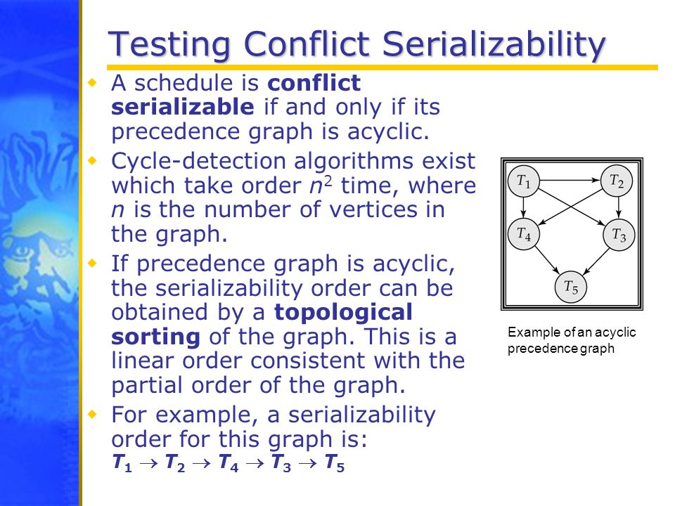 Testing Conflict Serializability A schedule is conflict serializable if and only if its precedence graph is acyclic. Cycle-detection algorithms exist