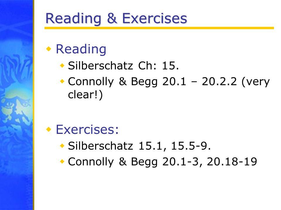 Reading & Exercises Reading Silberschatz Ch: 15. Connolly & Begg 20.1 – 20.2.2 (very clear!) Exercises: Silberschatz 15.1, 15.5-9. Connolly & Begg 20.