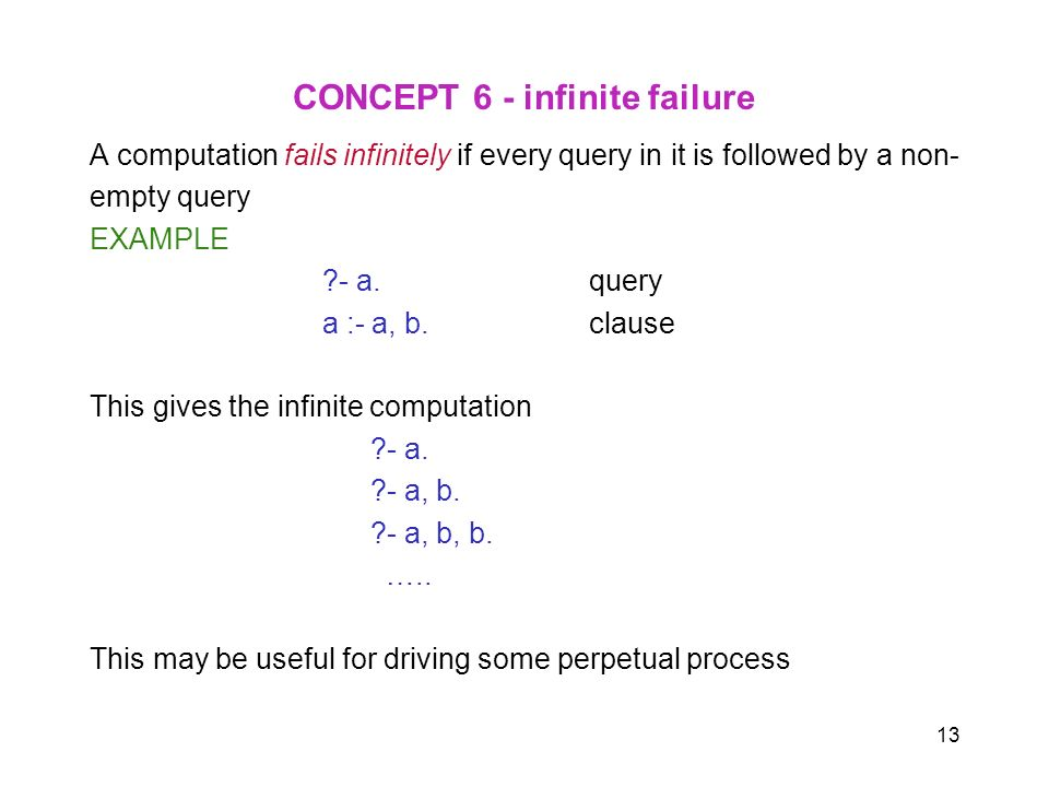 13 CONCEPT 6 - infinite failure A computation fails infinitely if every query in it is followed by a non- empty query EXAMPLE ?- a. query a :- a, b. c