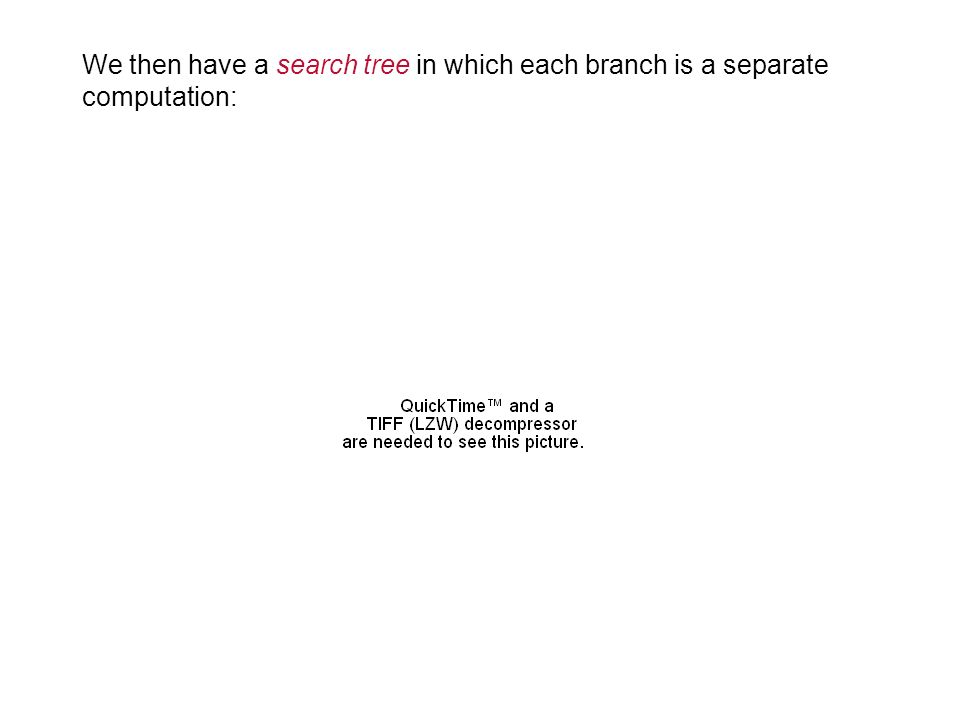 15 We then have a search tree in which each branch is a separate computation: