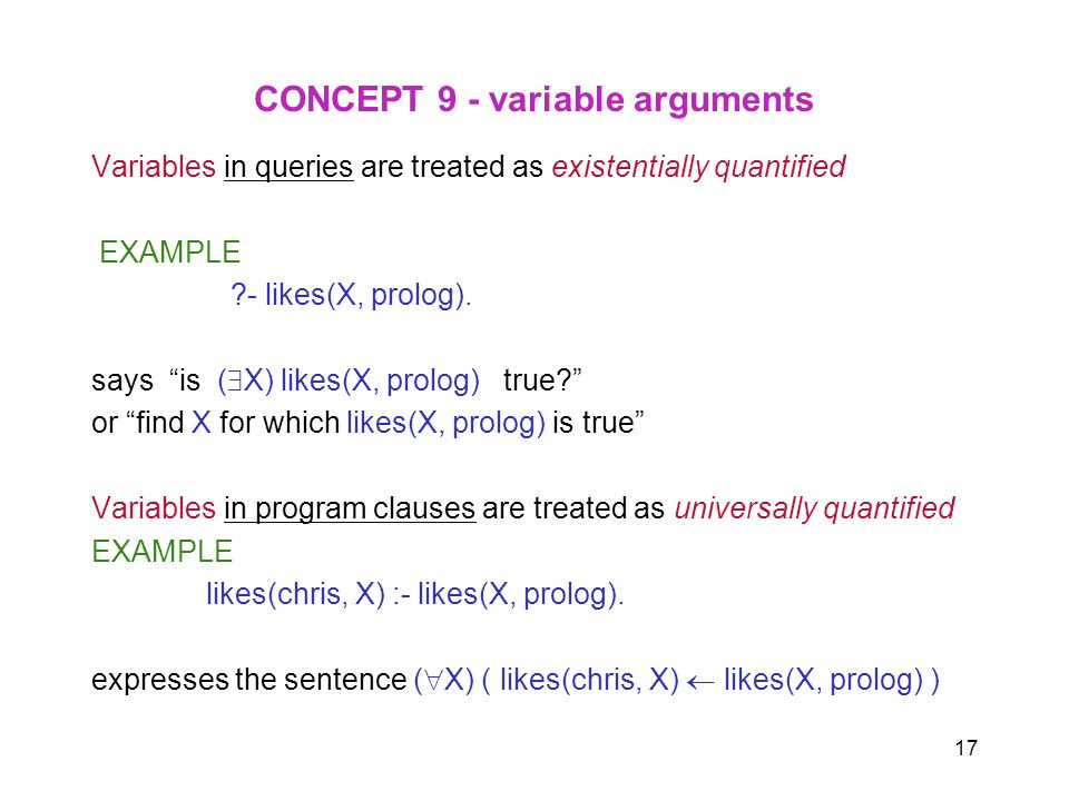 17 CONCEPT 9 - variable arguments Variables in queries are treated as existentially quantified EXAMPLE ?- likes(X, prolog). says is ( X) likes(X, prol