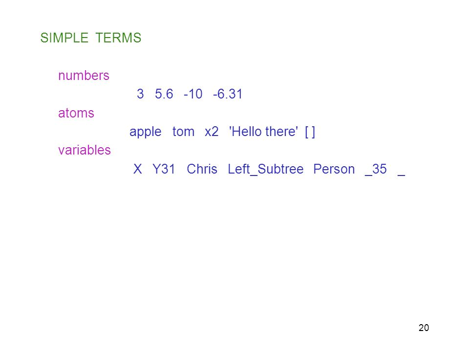 20 SIMPLE TERMS numbers 3 5.6 -10 -6.31 atoms apple tom x2 'Hello there' [ ] variables X Y31 Chris Left_Subtree Person _35 _