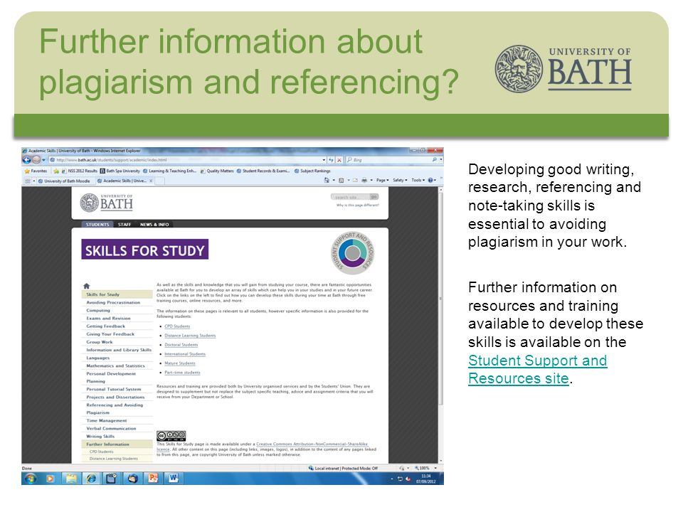 The University Developing good writing, research, referencing and note-taking skills is essential to avoiding plagiarism in your work. Further informa