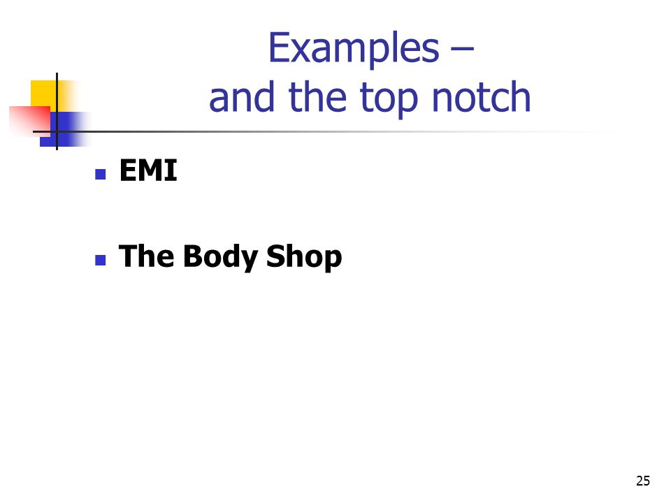 25 Examples – and the top notch EMI The Body Shop