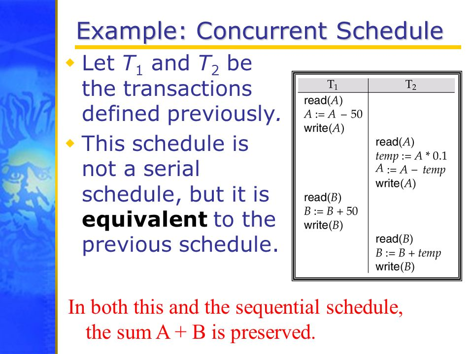 Example: Concurrent Schedule Let T 1 and T 2 be the transactions defined previously. This schedule is not a serial schedule, but it is equivalent to t