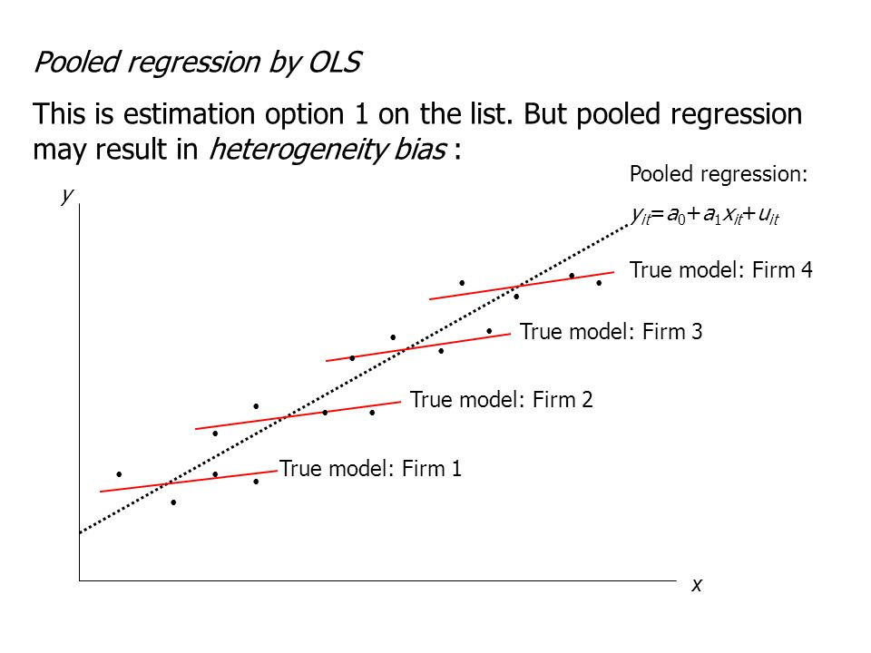 Pooled regression by OLS This is estimation option 1 on the list. But pooled regression may result in heterogeneity bias : Pooled regression: y it =a