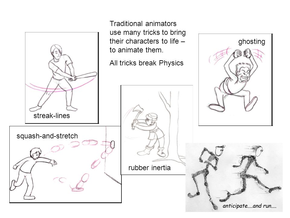 Traditional animators use many tricks to bring their characters to life – to animate them. All tricks break Physics streak-lines ghosting squash-and-s