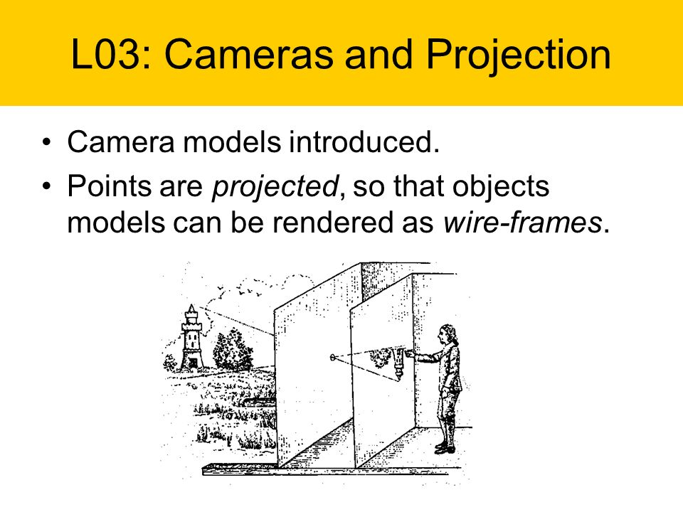 Camera models introduced. Points are projected, so that objects models can be rendered as wire-frames. L03: Cameras and Projection