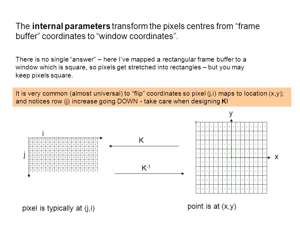 K x y i j The internal parameters transform the pixels centres from frame buffer coordinates to window coordinates. There is no single answer – here I