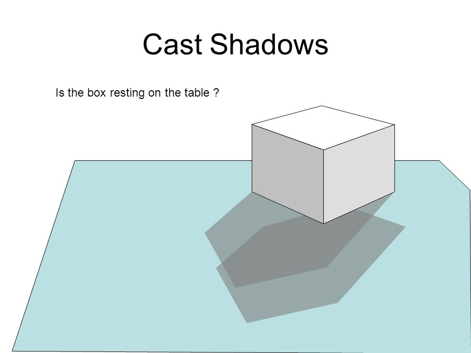 Cast Shadows Is the box resting on the table ?