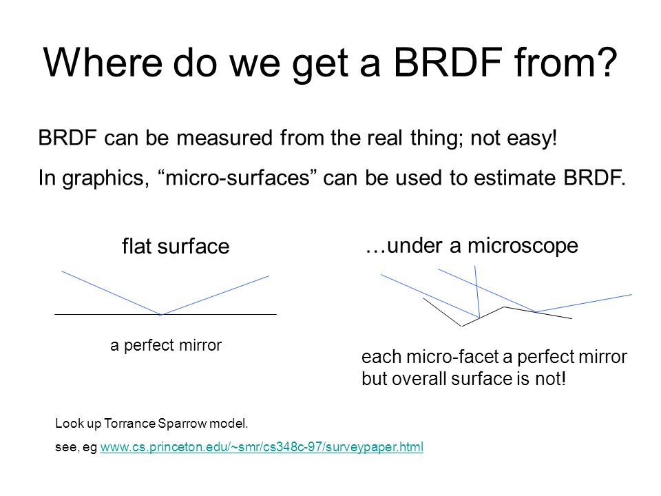 Where do we get a BRDF from? BRDF can be measured from the real thing; not easy! In graphics, micro-surfaces can be used to estimate BRDF. Look up Tor