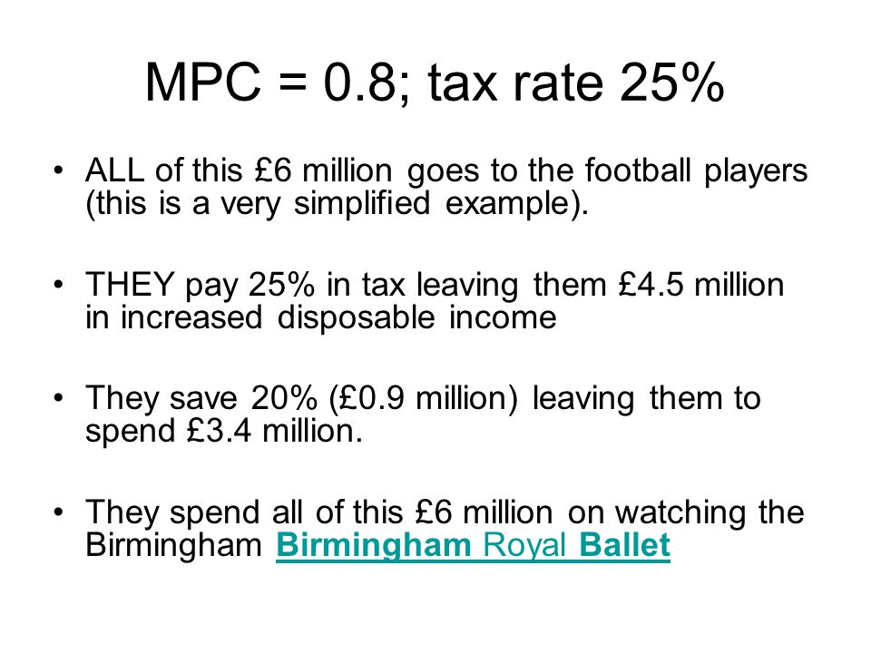 MPC = 0.8; tax rate 25% ALL of this £6 million goes to the football players (this is a very simplified example). THEY pay 25% in tax leaving them £4.5