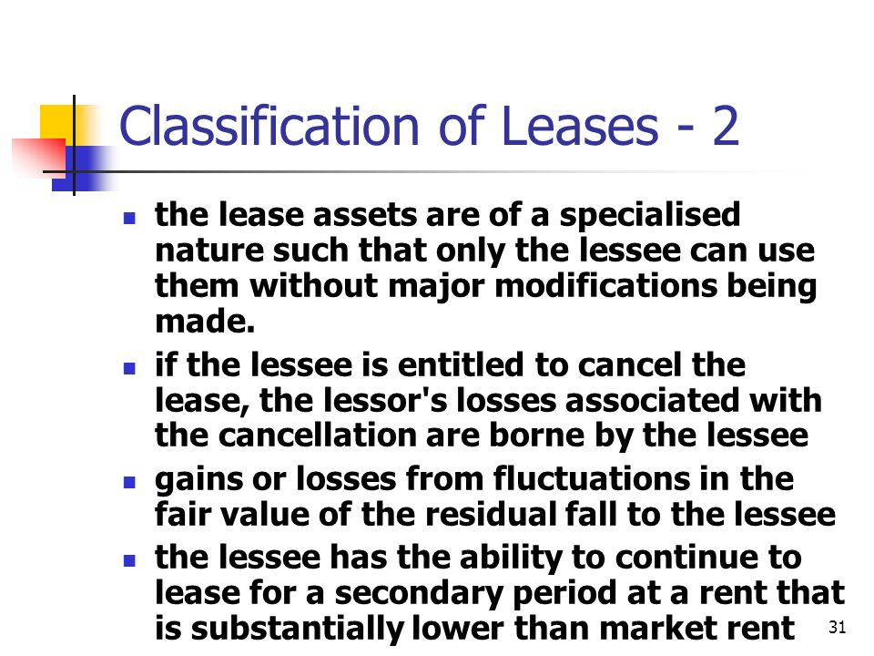 31 Classification of Leases - 2 the lease assets are of a specialised nature such that only the lessee can use them without major modifications being