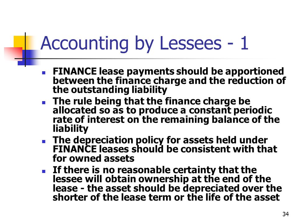 34 Accounting by Lessees - 1 FINANCE lease payments should be apportioned between the finance charge and the reduction of the outstanding liability Th