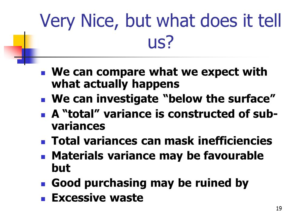 19 Very Nice, but what does it tell us? We can compare what we expect with what actually happens We can investigate below the surface A total variance
