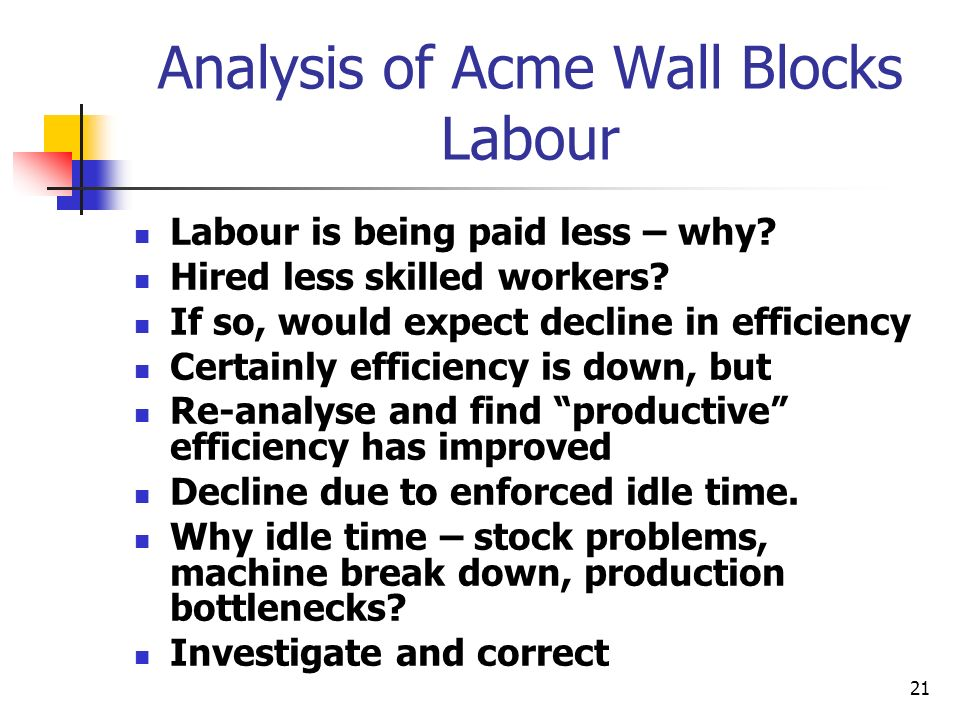 21 Analysis of Acme Wall Blocks Labour Labour is being paid less – why? Hired less skilled workers? If so, would expect decline in efficiency Certainl