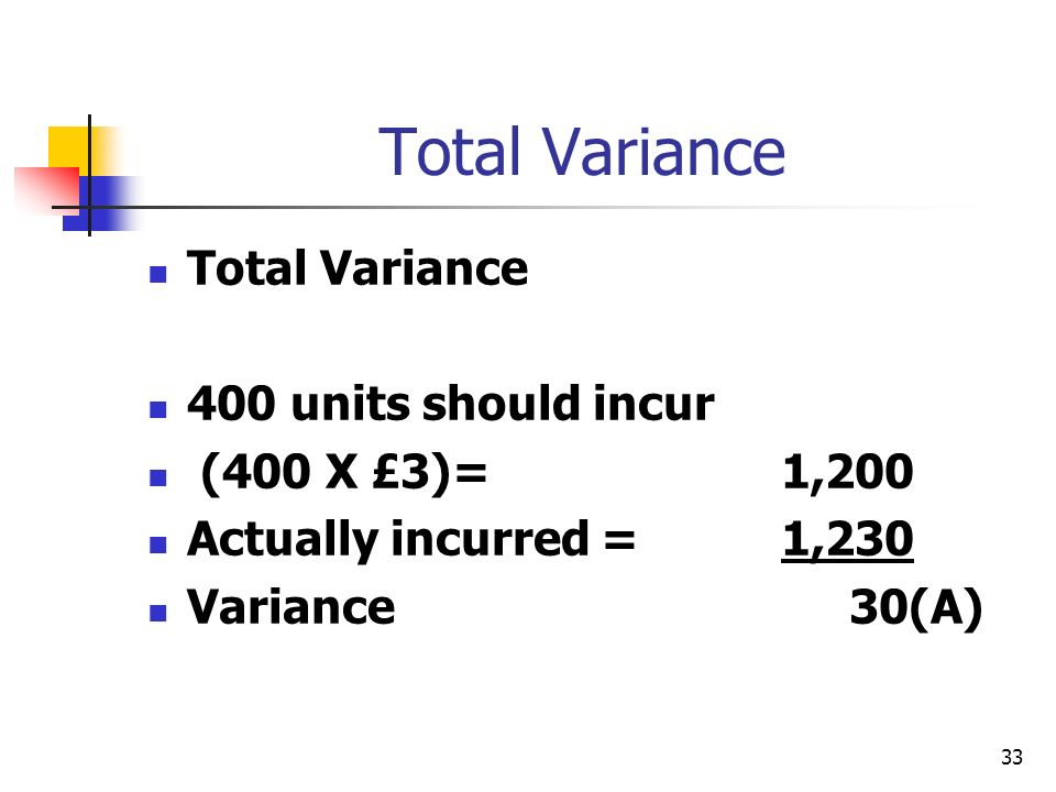 33 Total Variance 400 units should incur (400 X £3)= 1,200 Actually incurred =1,230 Variance 30(A)